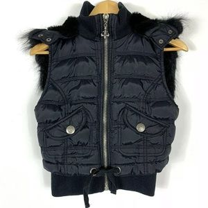 BB Dakota Puffer Vest Zip Hood Faux Fur Pockets